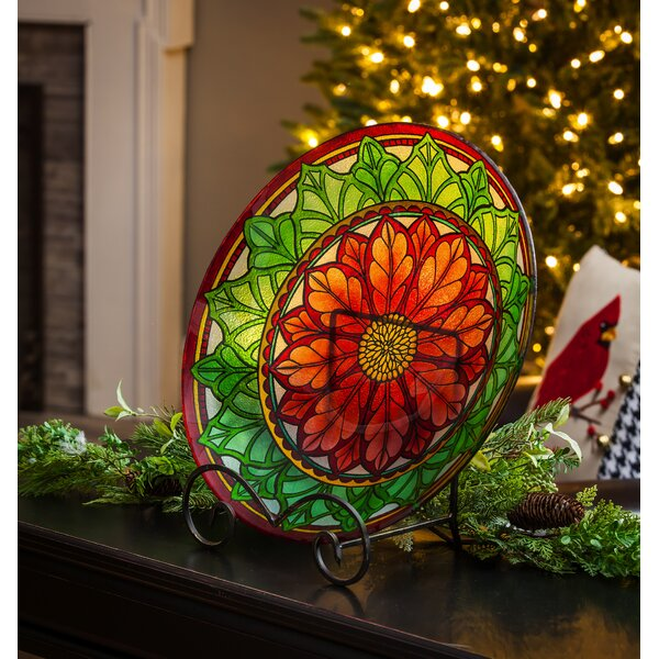 Poinsettia Glass Birdbath by Evergreen Enterprises, Inc