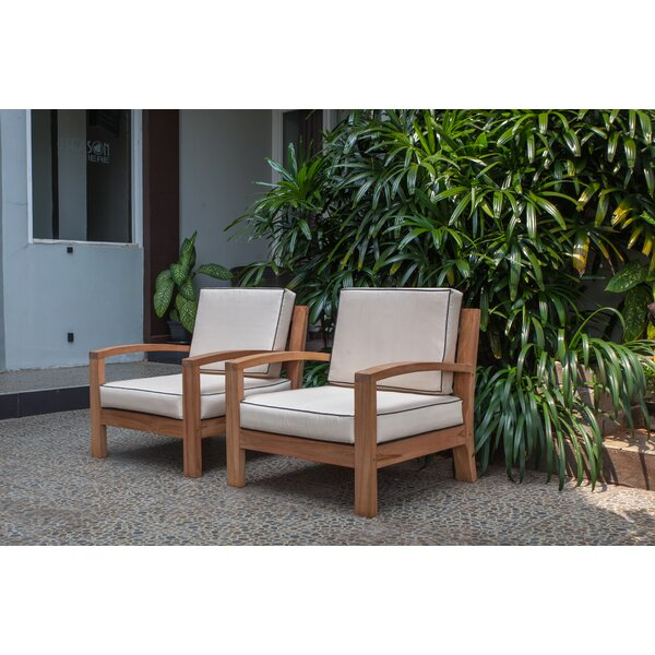 Severine Deep Seating Teak Patio Chair with Cushions by Bay Isle Home
