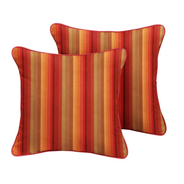 Bien Sunbrella Astoria Sunset Stripe Outdoor Throw Pillow (Set of 2) by Bayou Breeze