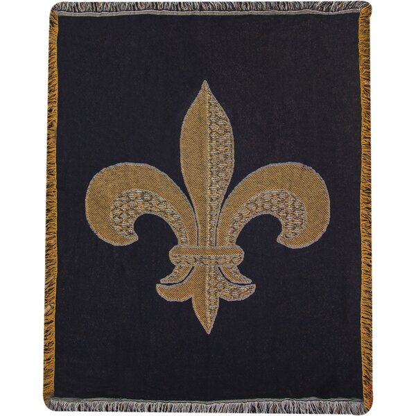 Fleur-de-lis 2 Layer Cotton Throw by Manual Woodworkers & Weavers