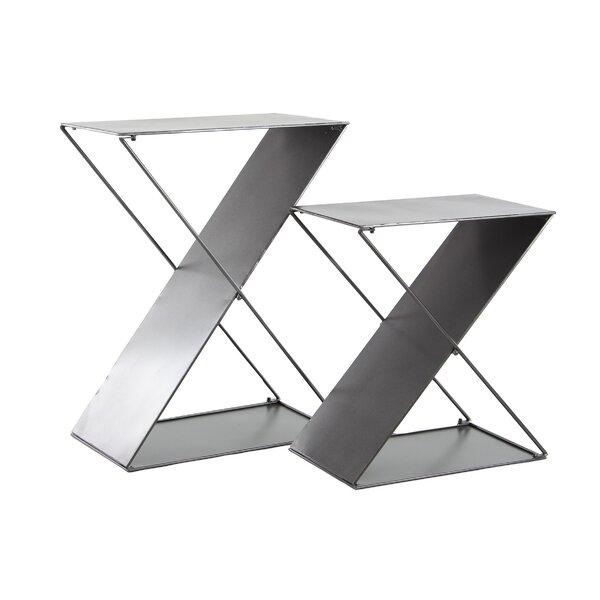 Feemster Modern Tin 2 Piece Z-Shaped Corner Plant Stand Set by Orren Ellis