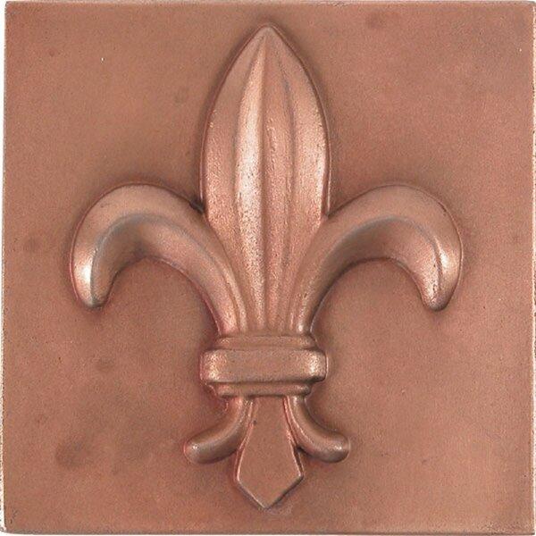 Fleur-De-Lis 4 x 4 Metal Decorative Accent Tile in Red Copper (Set of 4) by The Copper Factory