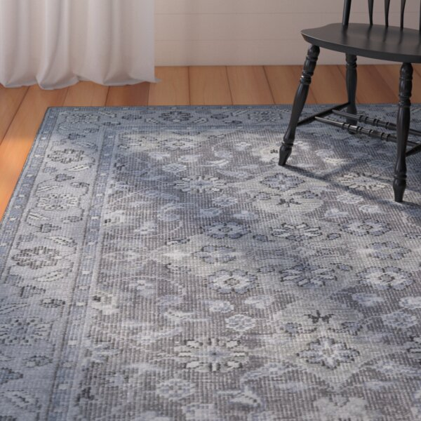 Eugenia Hand-Knotted Grey Area Rug by August Grove