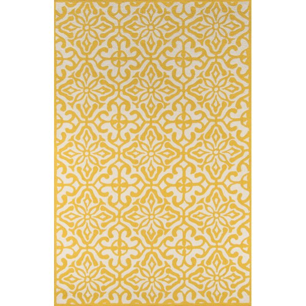 St James Yellow/White Outdoor Area Rug by Charlton Home
