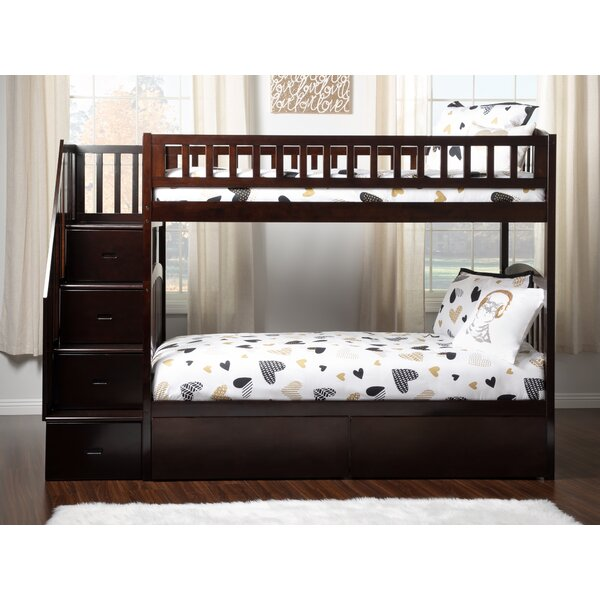 Salem Staircase Twin Over Twin Bunk Bed with Drawers by Harriet Bee