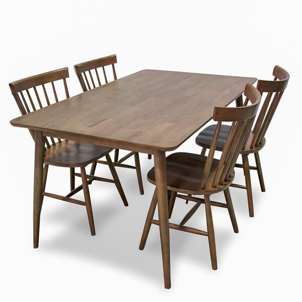 Absher 5 Piece Solid Wood Dining Set by Gracie Oaks