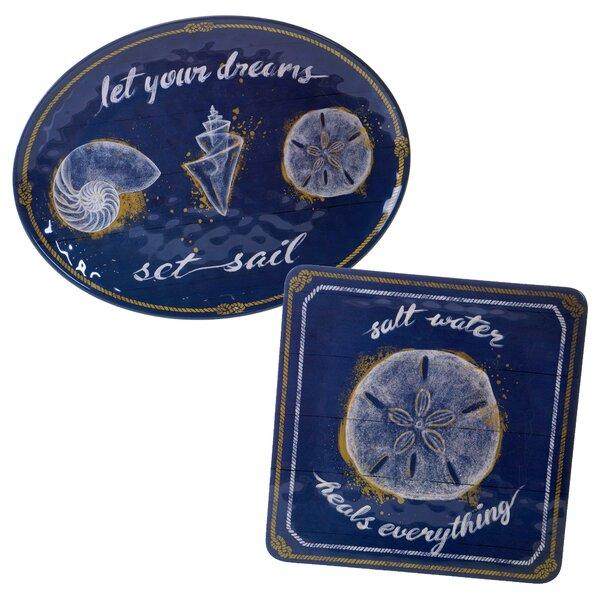 Calm Seas 2 Piece Heavy Weight Melamine Platter Set by Certified International