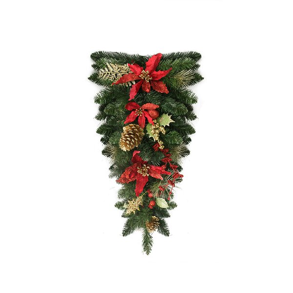 Pre-Decorated Red Poinsettia and Pine Cone Artificial Christmas Teardrop Swag by Northlight Seasonal