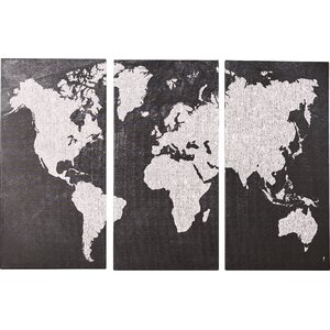'Gray Map' Print Multi-Piece on Wrapped Canvas by Brayden Studio