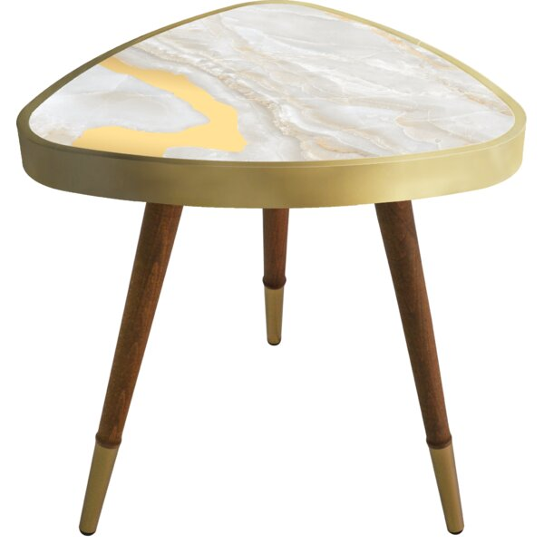 Mcalpine -inchMarble-inch Print Triangle Wooden End Table by Wrought Studio Wrought Studio