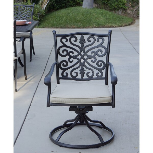 Belton Swivel Patio Dining Chair with Cushion by Fleur De Lis Living