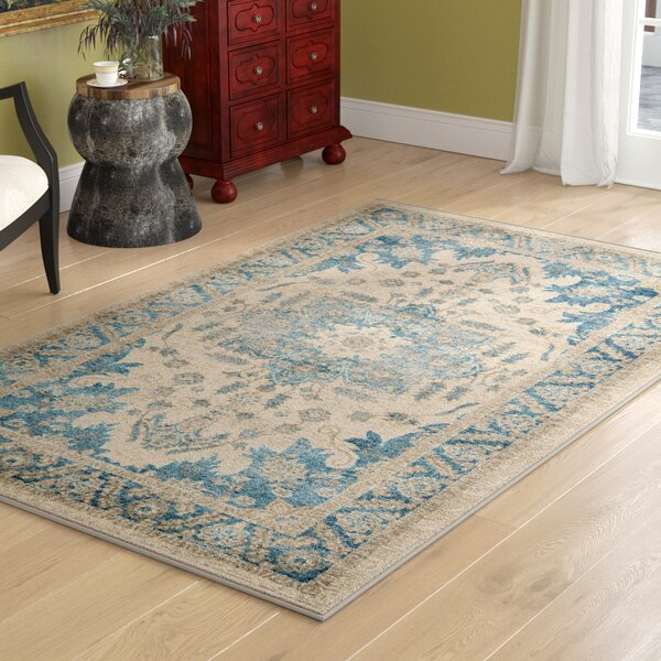 Cream/Blue Area Rug by Birch Lane™