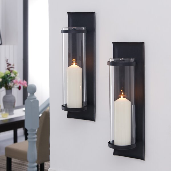 Metal Sconce with Glass Inserts (Set of 2) by Gracie Oaks