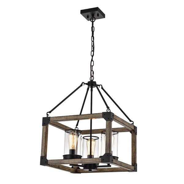 Pooja 3 - Light Lantern Square Chandelier By Gracie Oaks