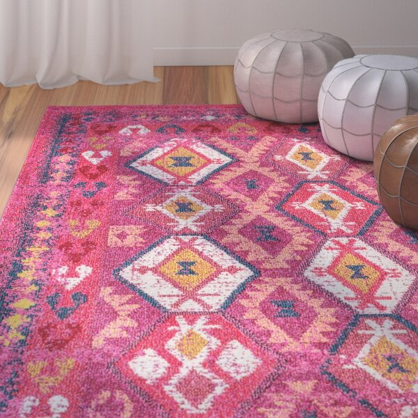 Burd Pink Area Rug by Mercury Row