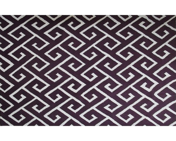 Bambous Hand-Hooked Aubergine/White Area Rug by Threadbind