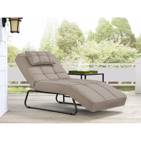 Andrew Outdoor Convertible Chaise Lounge with Cushion by Latitude Run