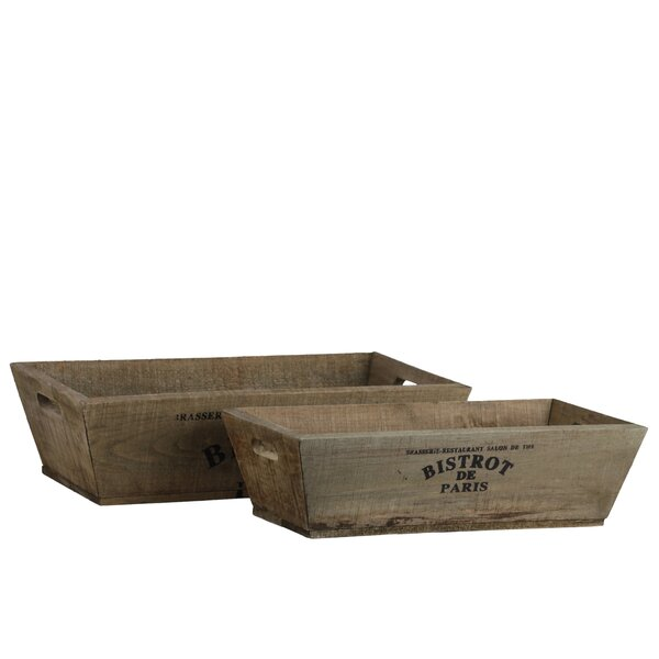 Albin Wooden Labelled 2 Piece Accent Tray Set by Ophelia & Co.