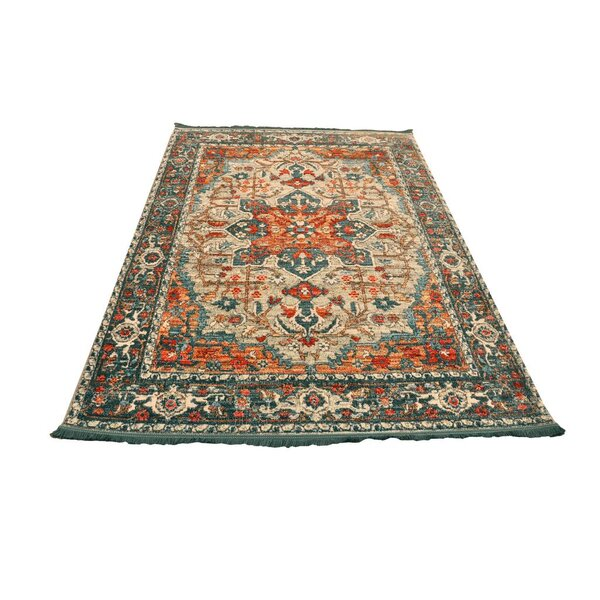 Truet Vintage Cream/Teal Area Rug by World Menagerie