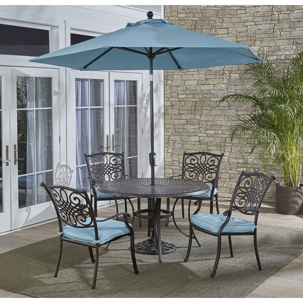 Carleton 5 Piece Bold & Eclectic Modern Dining Set with Cushions and Umbrella by Fleur De Lis Living