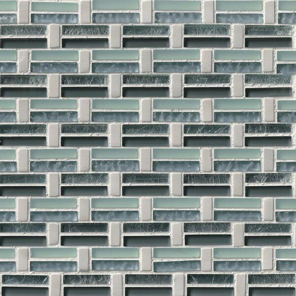 Ocean Wave Pattern Glass/Stone Mosaic Tile in White/Green by MSI
