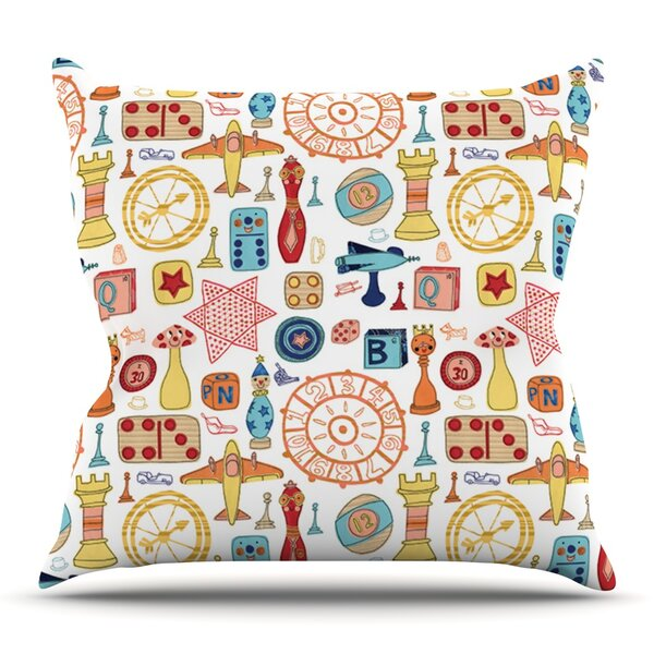 Vintage Games by Jane Smith Outdoor Throw Pillow by East Urban Home