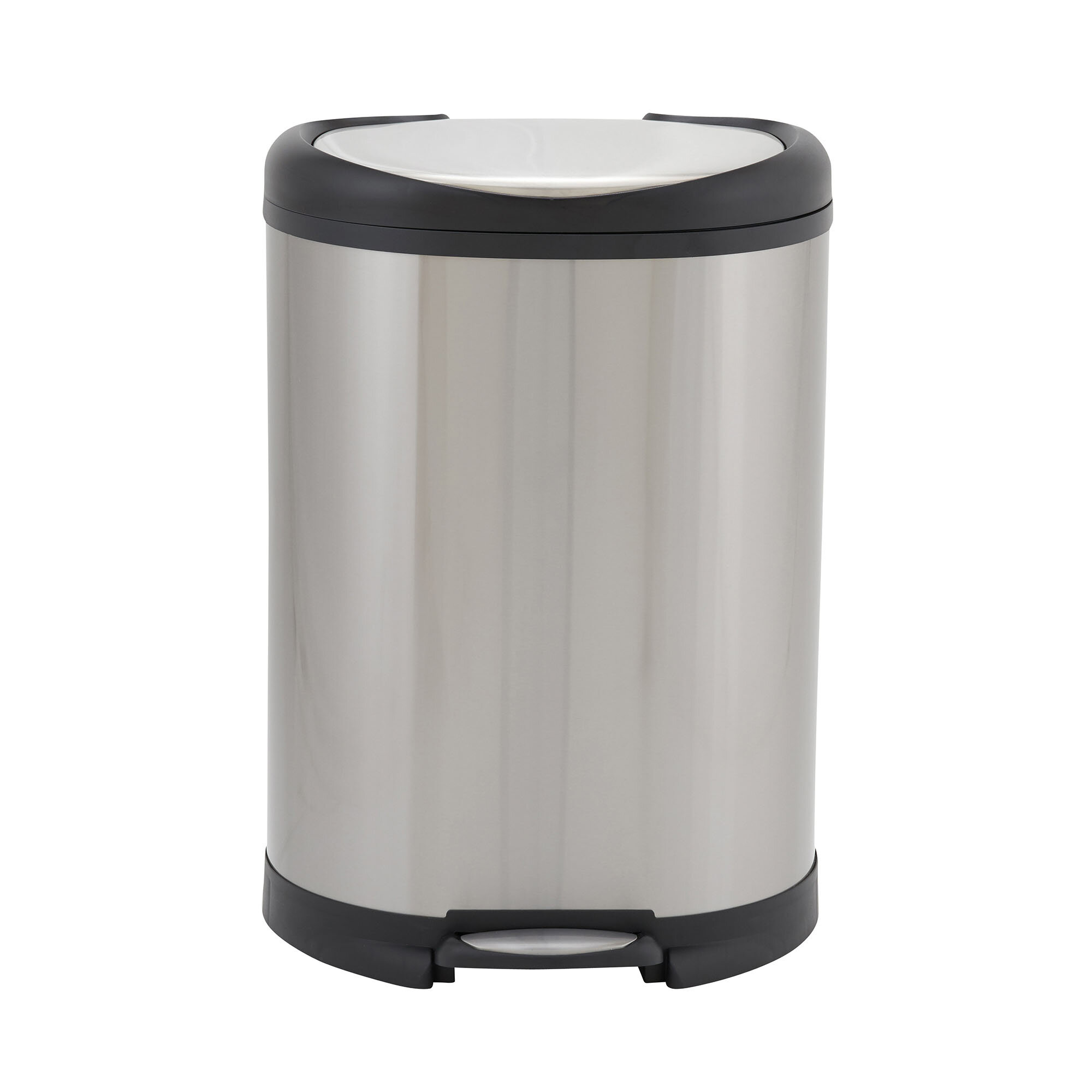 Design Trend Oval Stainless Steel 13 Gallon Step On Trash Can