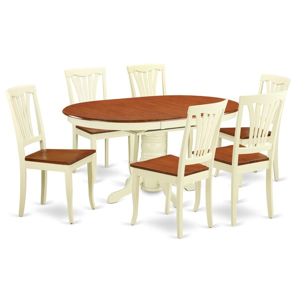 Emmaline 7 Piece Extendable Solid Wood Dining Set by Alcott Hill