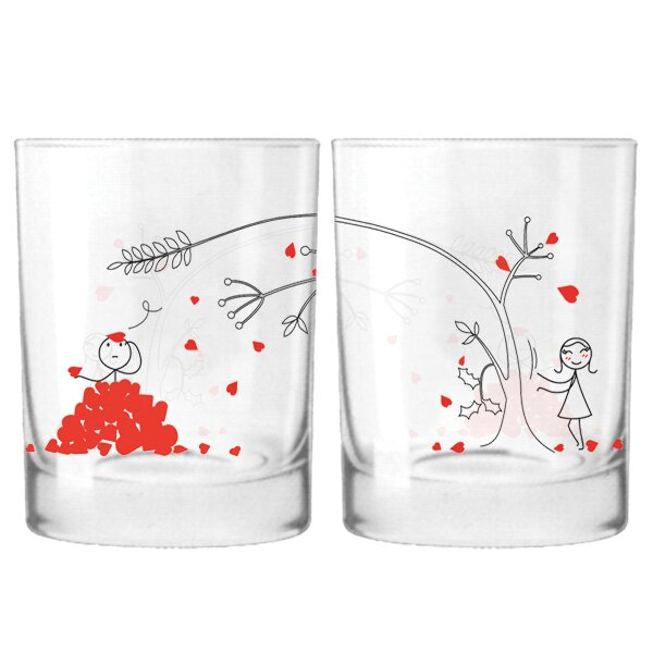 Love You Madly Couple 12 oz. Drinking Glass (Set of 2) by BoldLoft