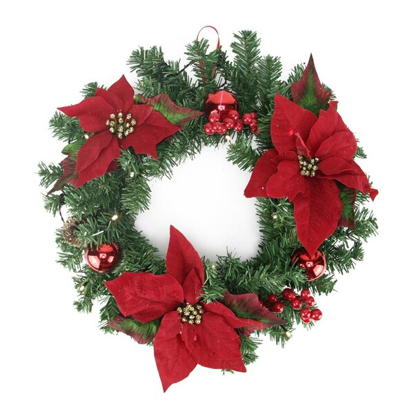 Christmas Pre-Decorated 16 Lighted Artificial Pine and Poinsettia Wreath by The Holiday Aisle