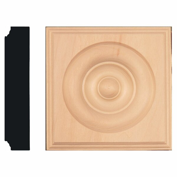 1-1/8 in. x 5-1/2 in. x 5-1/2 in. Basswood Rosette Block Moulding by Manor House