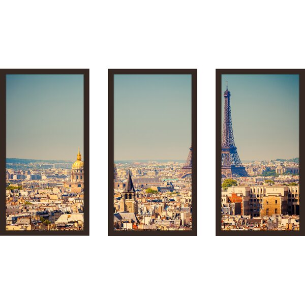Eiffel Tower 1 3 Piece Framed Photographic Print Set by Picture Perfect International