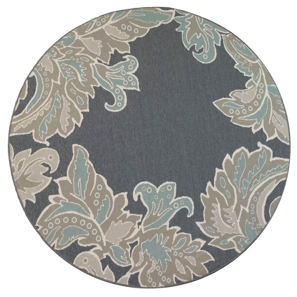 Natoli Ornamental Leaf Navy Indoor/Outdoor Area Rug by Winston Porter