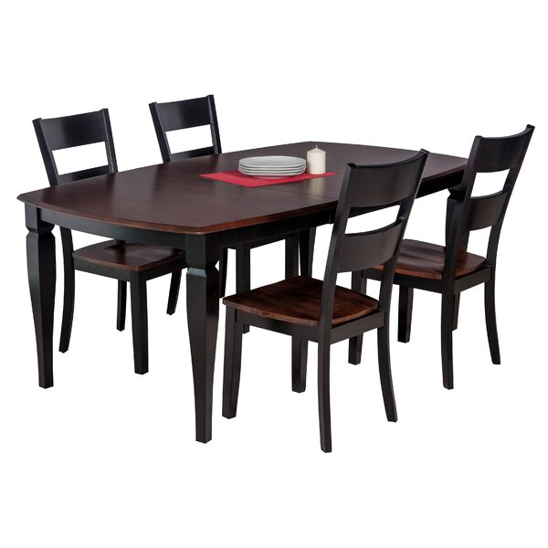 Besse 5 Piece Solid Wood Dining Set with Curved Back Chair by Red Barrel Studio