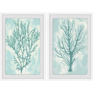 'Living Teal III' 2 Piece Framed Acrylic Painting Print Set By Rosecliff Heights