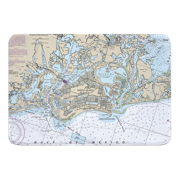 Nautical Chart Marco Island FL Rectangle Memory Foam Non-Slip Bath Rug