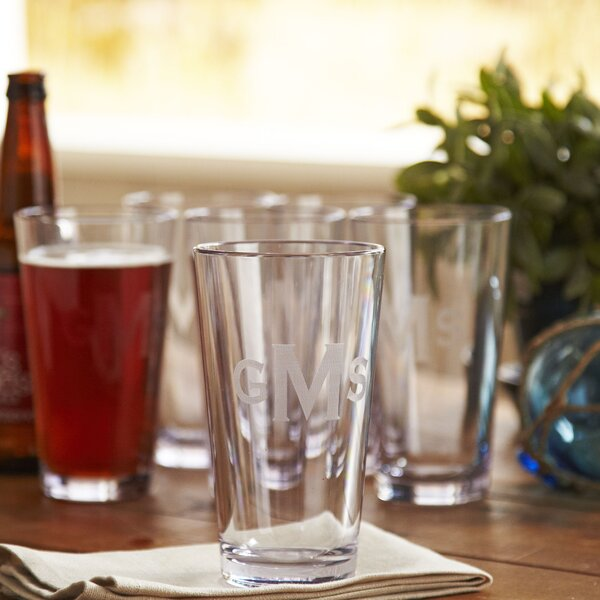 Monogrammed Tritan™ Outdoor Pint Glasses (Set of 6) by Birch Lane™