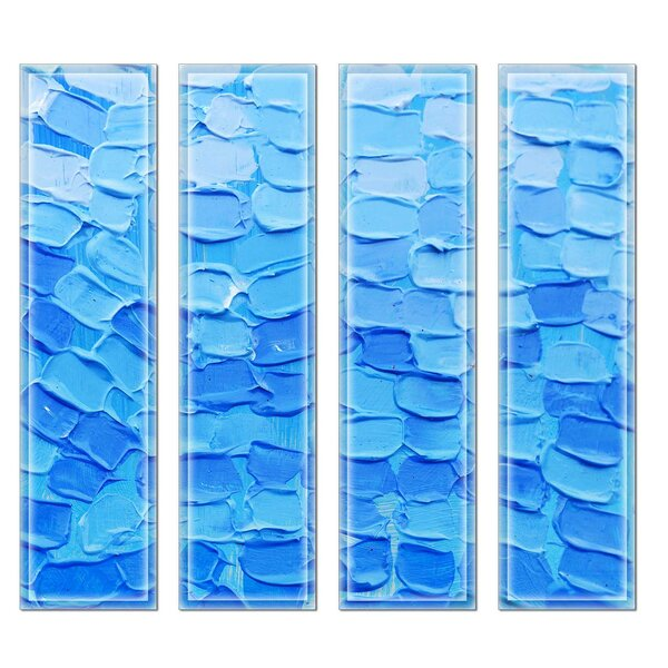 Crystal 3 x 12 Beveled Glass Subway Tile in Blue by Upscale Designs by EMA