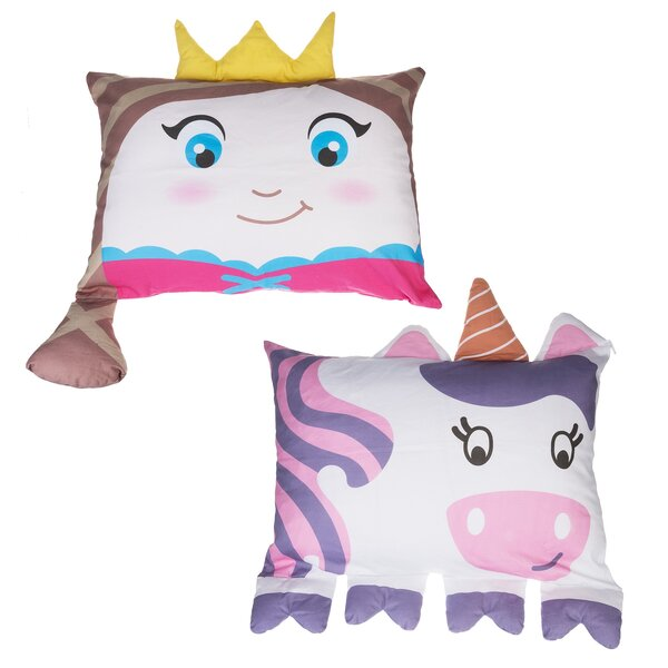 Haris Princess and Unicorn Shaped Pillow Case (Set of 2) by Zoomie Kids