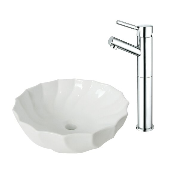 Ceramic Circular Vessel Bathroom Sink with Faucet by Kingston Brass
