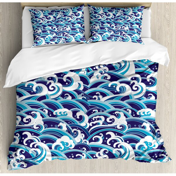 Traditional Eastern Pattern with Waves of Water Foam Splashes Duvet Set by East Urban Home
