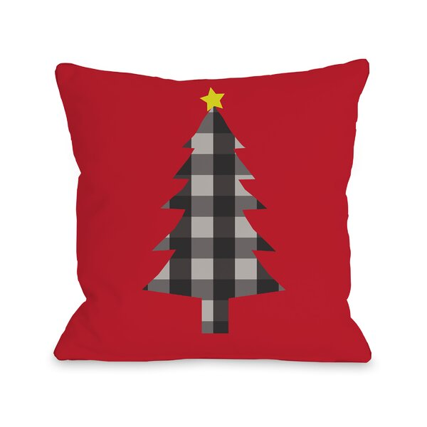 Plaid Tree Throw Pillow by One Bella Casa