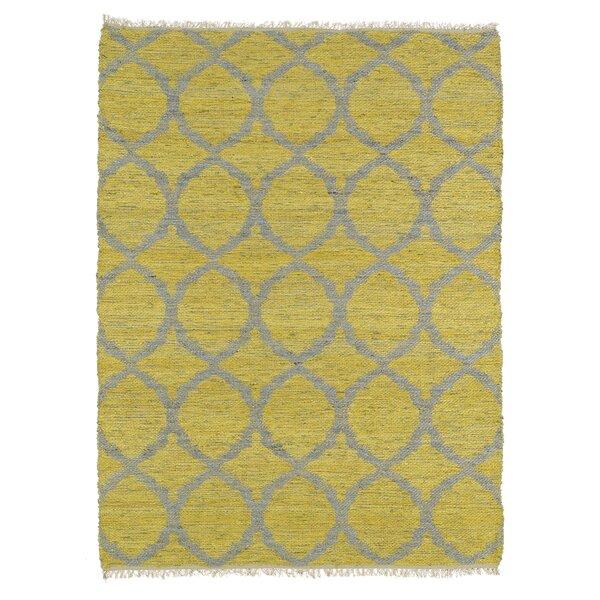 Dolder Yellow & Grey Area Rug by Ebern Designs