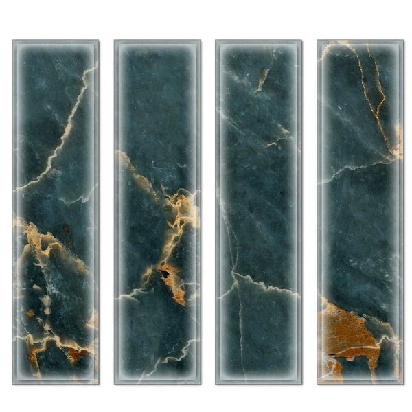 Crystal 3 x 12 Beveled Glass Subway Tile in Dark Green by Upscale Designs by EMA