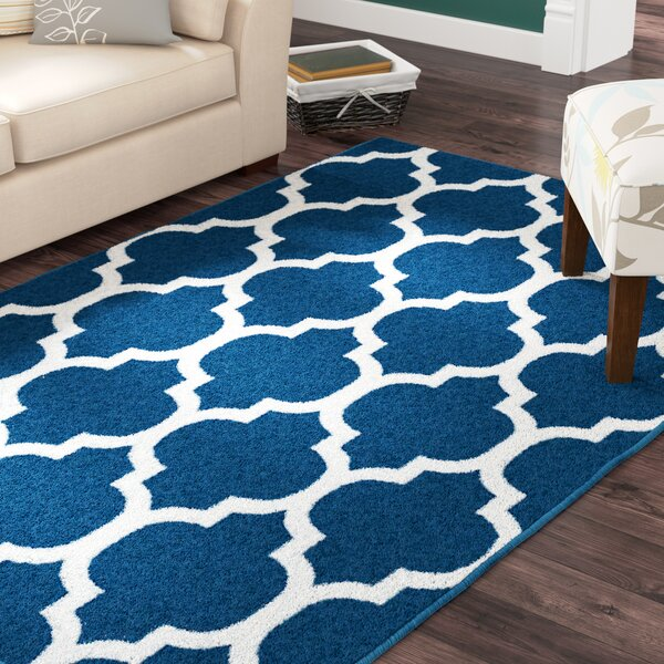 Daisy Wool Blue Indoor/Outdoor Area Rug by Charlton Home