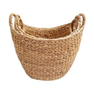 Woven Rattan Oval Basket (Set of 3) by Gracie Oaks