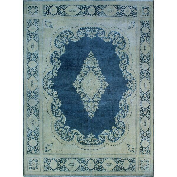 One-of-a-Kind Amado Distressed Hand-Knotted Wool Blue Are Rug by Isabelline