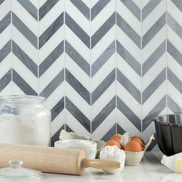 Dart Mabin Thassos Herringbone 1.3 x 3 Marble Mosaic Tile in Gray/White by Splashback Tile