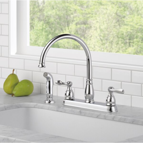 Windemere Double Handle Kitchen Faucet with Side Spray by Delta