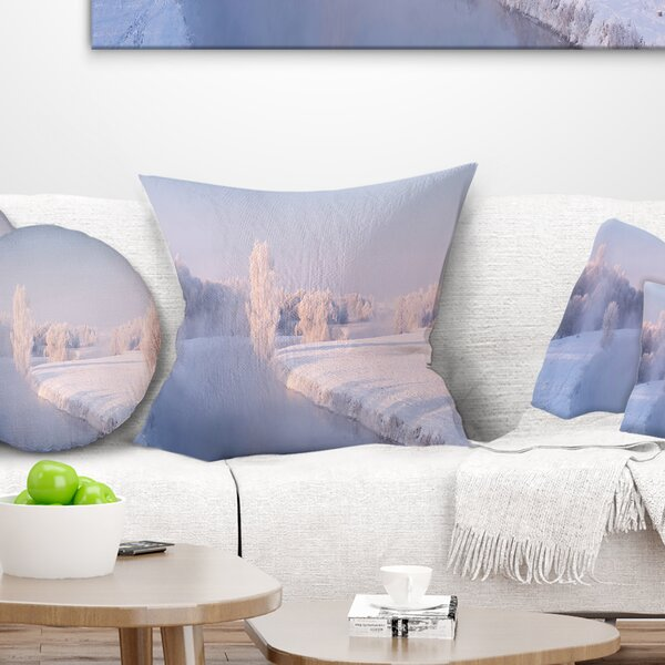 Landscape Printed Bright Colorful Winter Day Pillow by East Urban Home